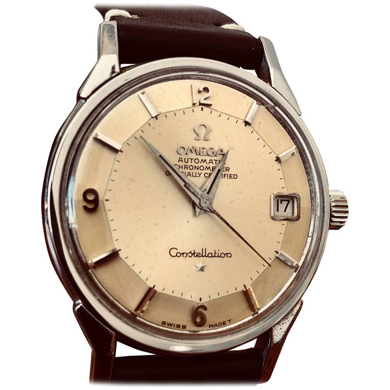 Omega Constellation Pie Pan with Boxes and Price Tag, circa 1966 For Sale