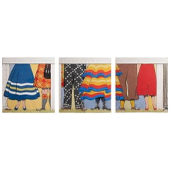 Fol De Rols Painted Triptych, circa 1950
