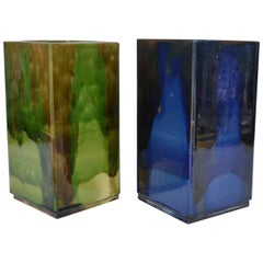 Pair of French 1960s Square Studio Pottery Vases in Blue and Green
