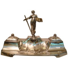 WMF Art Nouveau Inkwell Stand, Figure of the Law, Germany, 1900