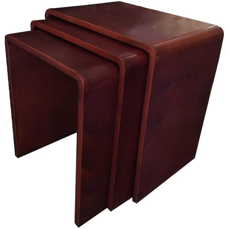 Style of Jean Michel Frank Laquer Waterfall Nesting Tables, Modern Lacquer