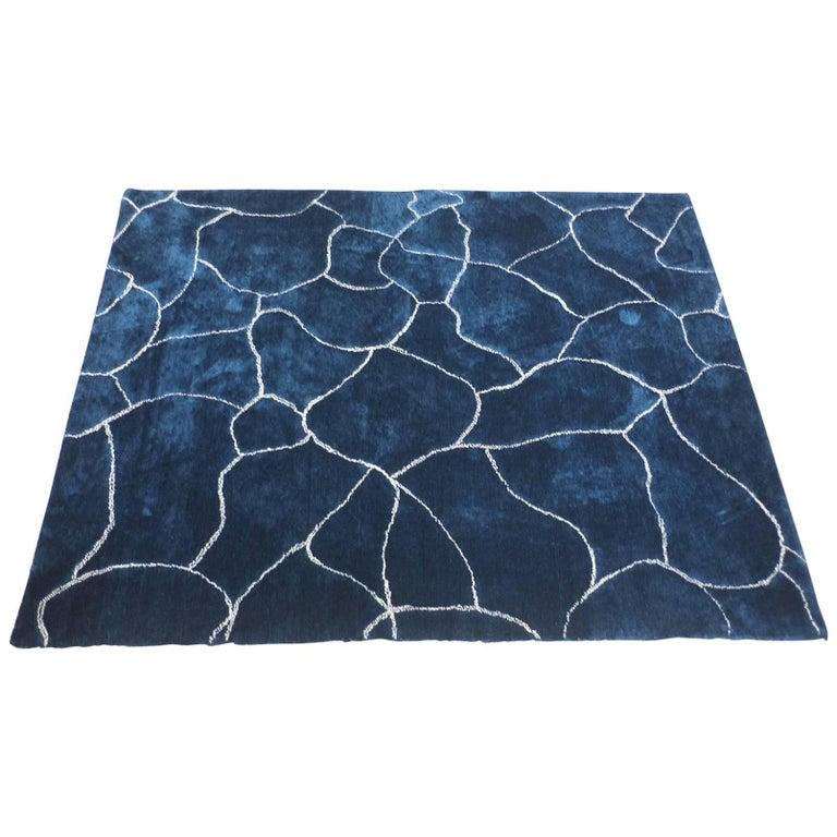 deep blue hand tufted la piscine rug by manufacture de tapis de bourgogne for sale at 1stdibs. Black Bedroom Furniture Sets. Home Design Ideas