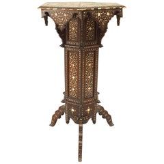 Middle Eastern Moorish '19th-20th Century' Walnut and Bone Inlaid Pedestal