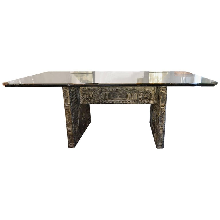 Brutalist Dining Table in the Style of Paul Evans