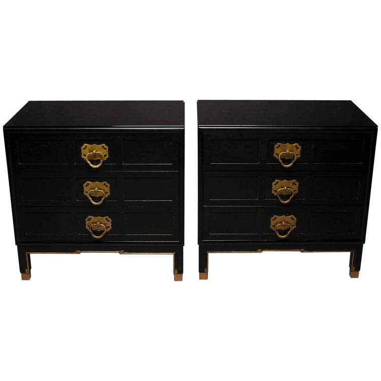 Pair of Midcentury Asian Style Three Drawer Chests