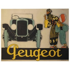 French Art Deco Automobile Advertising Poster for Peugeot by Rene Vincent, 1925