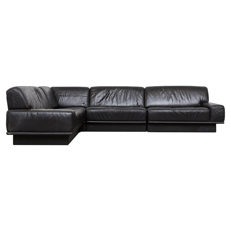 De Sede Black Leather Sectional Sofa
