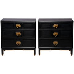 Pair of Midcentury Ebonized Asian Style Chest of Drawers