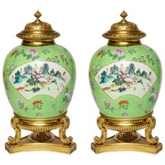 Pair of Japanese Style Mounted Temple Jars