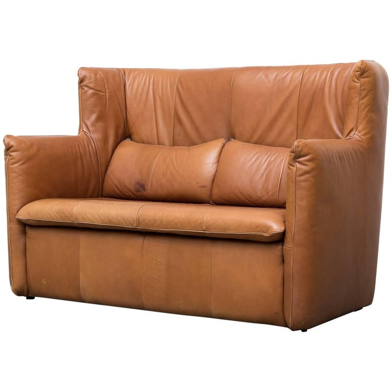 Gerard van den Berg Leather Love Seat For Sale