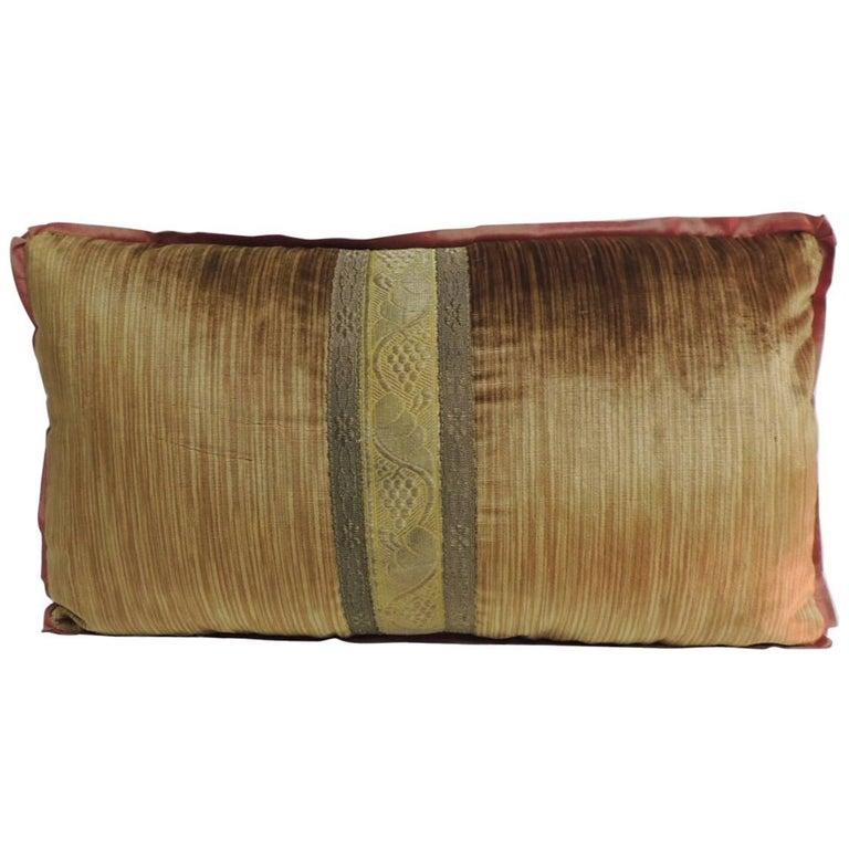 19th Century Antique Velvet And Metallic Trims Pee Lumbar Decorative Pillow For
