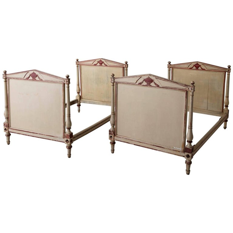 19th Century, French Pair of Directoire Style Twin Bed Frames in Original Paint