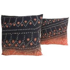 Pair of Vintage Textile Asian Shibori Hand-Dyed Orange and Black Square Decorati