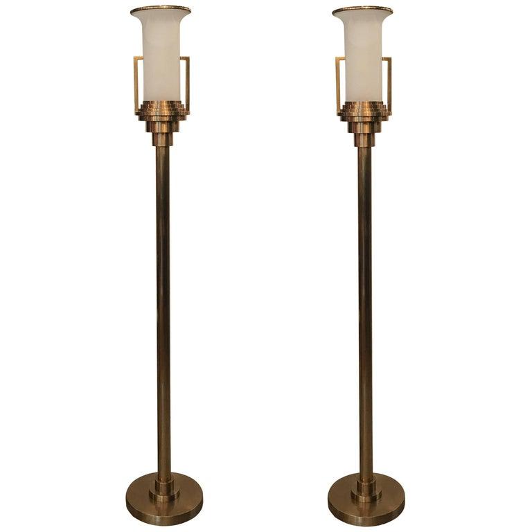 Pair of Modern Italian Torchere Floor Lamps