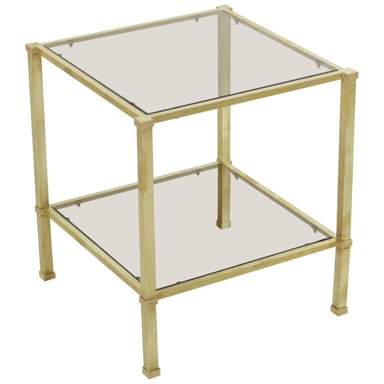 Midcentury French Maison Jansen Brass Side Table, Smoked Glass Top and Shelf