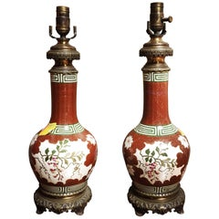 Pair of French Porcelain and Bronze Lamp Bases