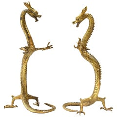 Pair of Brass Dragons, Large Standing