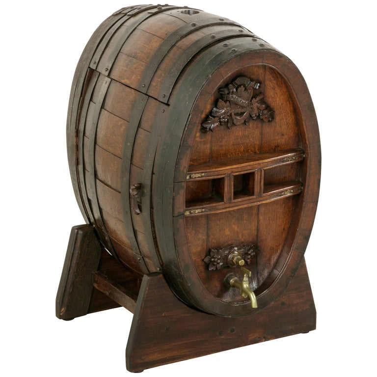Early 20th Century Artisan Made Oak Calvados Barrel Dry Bar on Stand For Sale