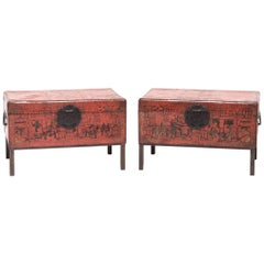 Pair of 18th Century Chinese Red and Gilt Lacquered Trunks