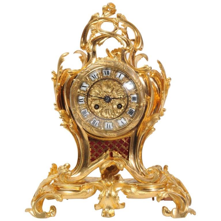 Ormolu Rococo Table Clock by Charpentier Paris