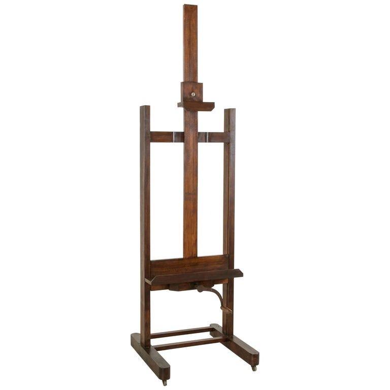Large French Oak Adjustable Floor Easel circa 1900 Iron Crank