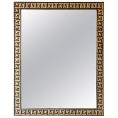 Large Greek Key Mirror in Gold Leaf and Black, circa 1940s