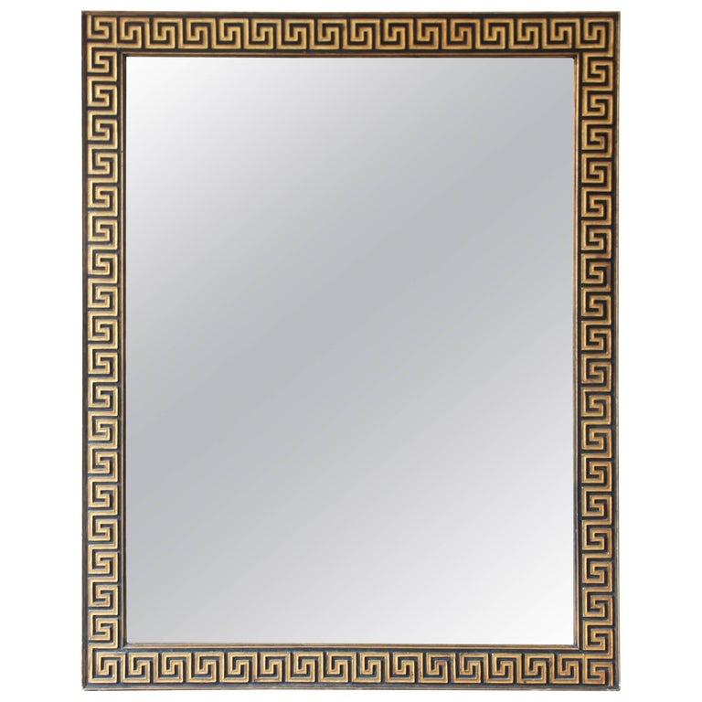 Large Greek Key Mirror in Gold Leaf and Black, circa 1940s