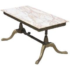 French Maison Jansen Coffee or Cocktail Table Bronze with Beige Onyx Top