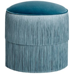 Classic Blue Fringes Ottoman, Handmade Velvet Stool with Fringe Trim