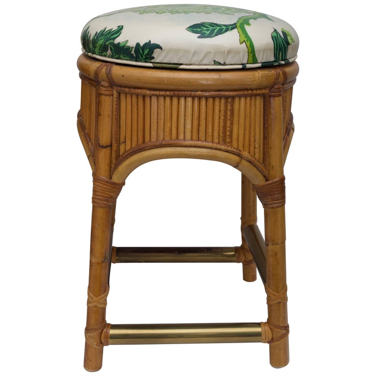 Swivel Seat Bamboo Stool