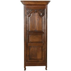 Late 19th Century French Hand-Carved Oak Bonnetiere, Armoire, or Cabinet