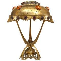 Art Nouveau 'Hungarian' Brass Table Lamp
