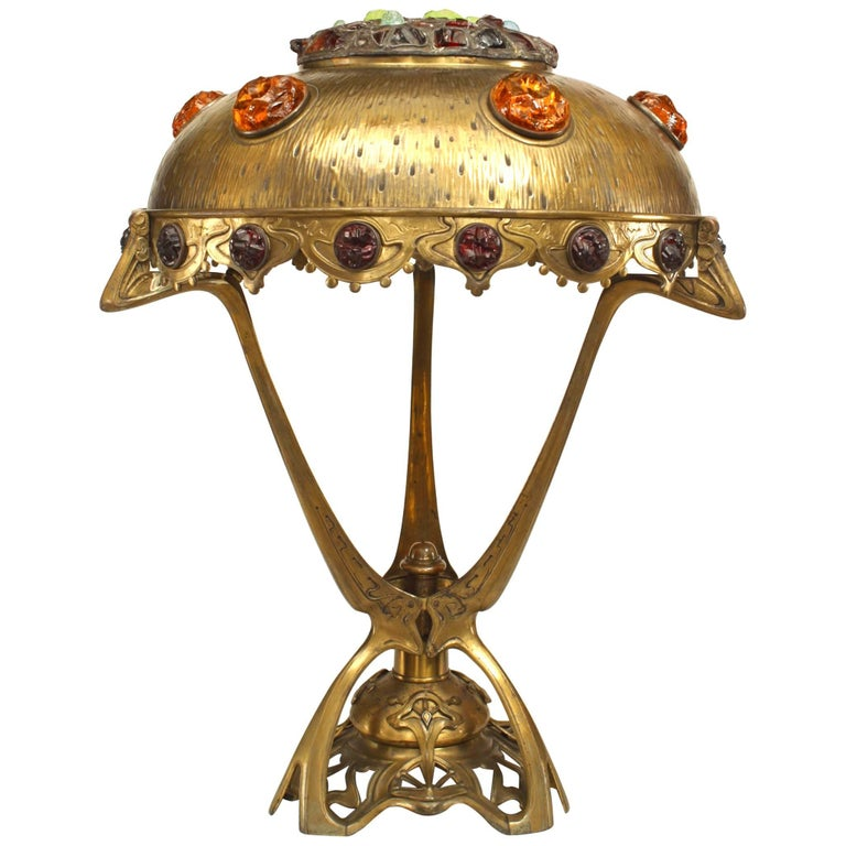 Art Nouveau 'Hungarian' Brass Table Lamp