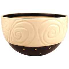 Post-Modernist Pottery Bowl with Spiral and Striped Details
