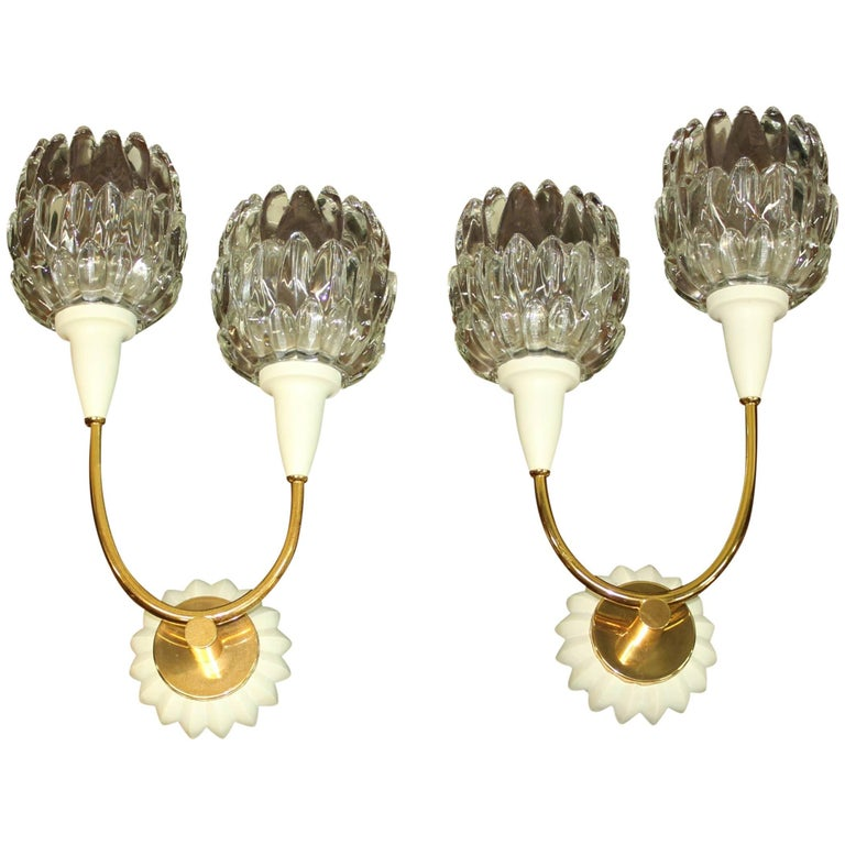 Beautiful Pair of French Art Deco Wall Sconces by Maison Lunel, circa 1940s