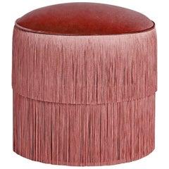 Vintage Pink Fringes Ottoman, Handmade Velvet Stool with Fringe Trim