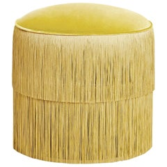 Vintage Gold Yellow Fringes Ottoman, Handmade Velvet Stool with Fringe Trim
