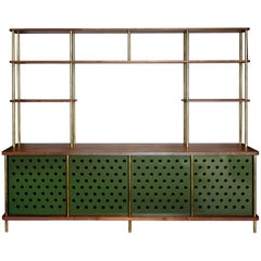 Strata Credenza in Walnut, Brass and Aluminum by Fort Standard