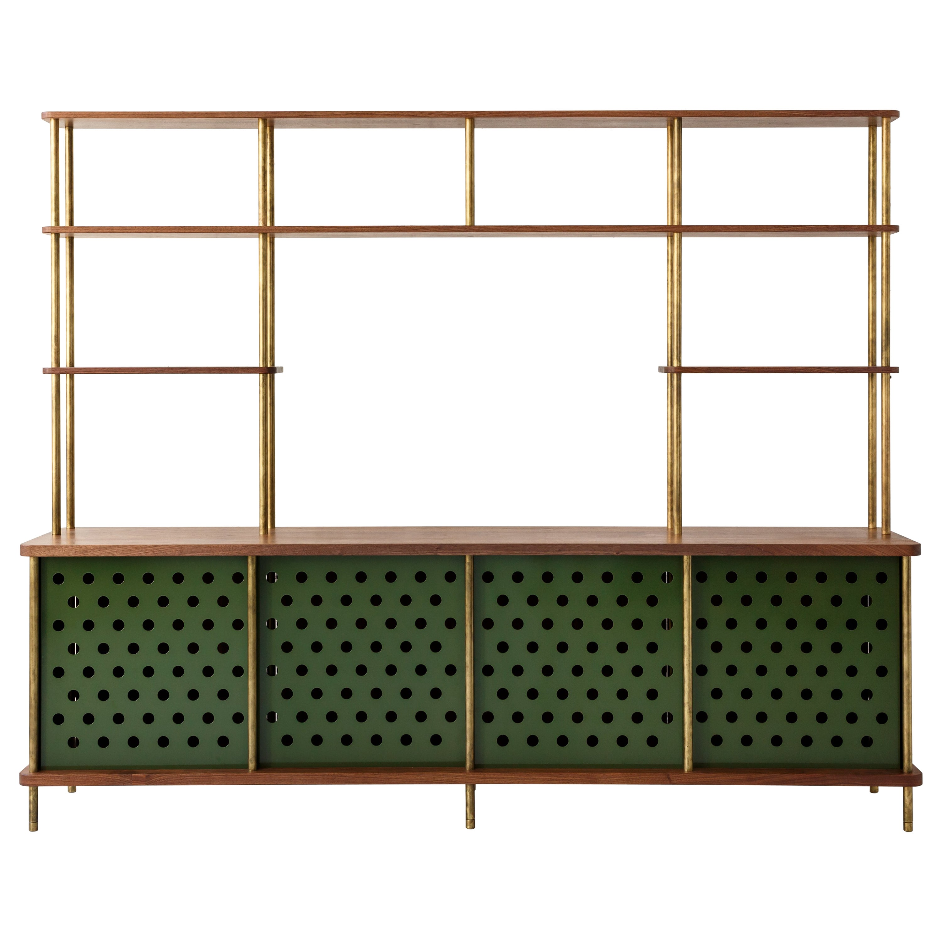 Contemporary 4 Door Strata Credenza in Walnut Wood and Brass by Fort Standard