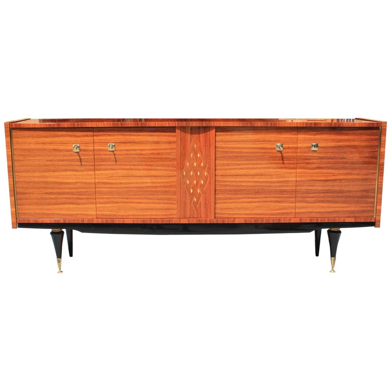 French Art Deco Light Macassar Sideboard with Diamond Mother-of-pearl Center