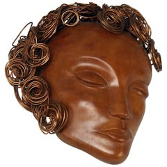 Art Deco Wooden Head Lady Curled Copper Hair by Hagenauer Vienna Made 1935-1940