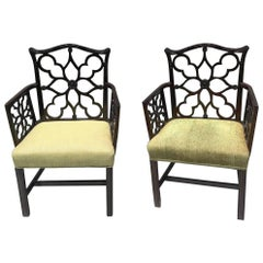 Pair of Georgian Style Lattice Armchairs