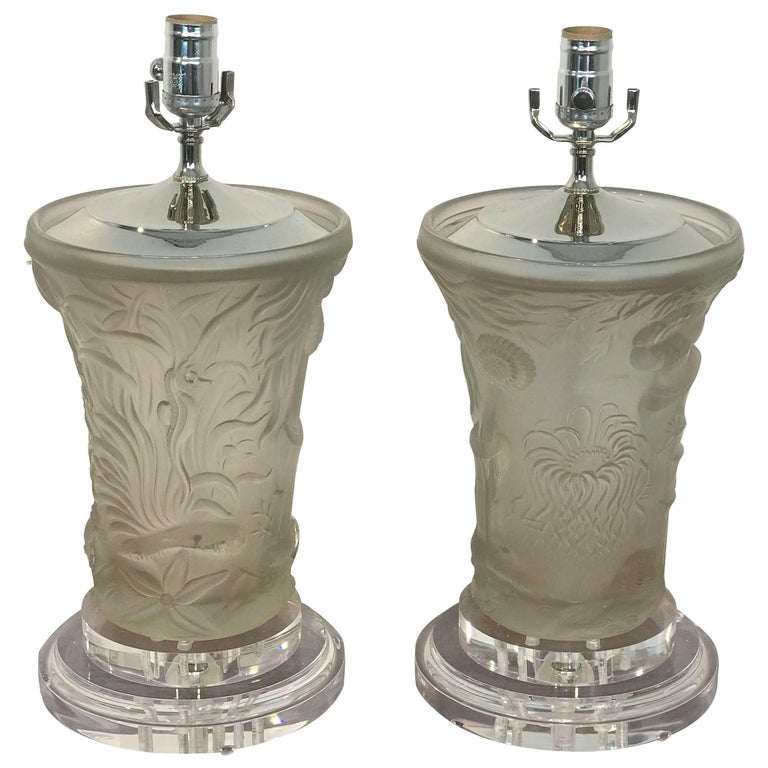 Pair of Lalique Style Undersea Motif Lamps