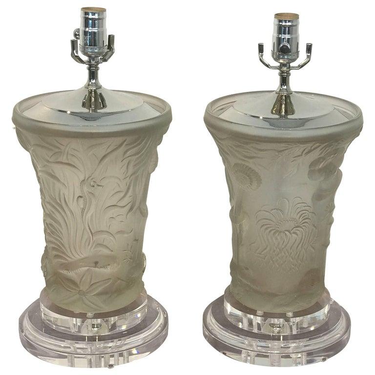 Pair of Lalique Style Undersea Motif Lamps