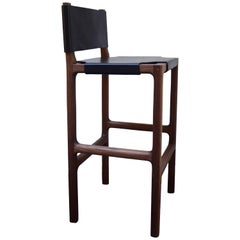 Reyes Counter Stool in Walnut with Black Leather
