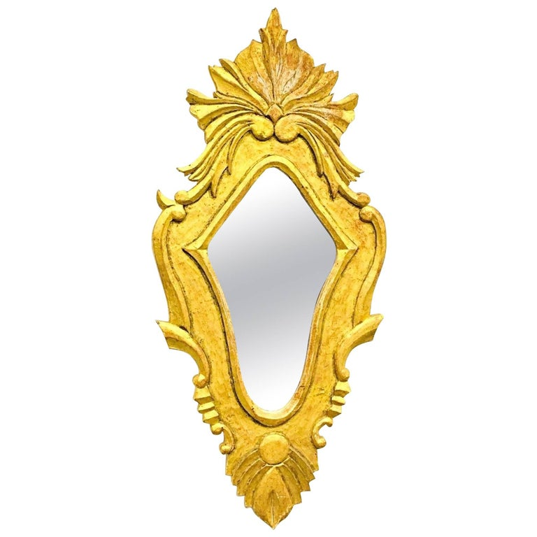 French Hollywood Regency Gilded Wood Mirror For Sale