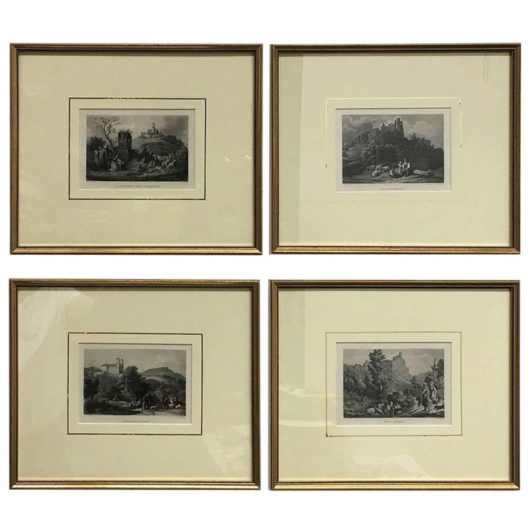 Set of Four German Framed Copper Engravings