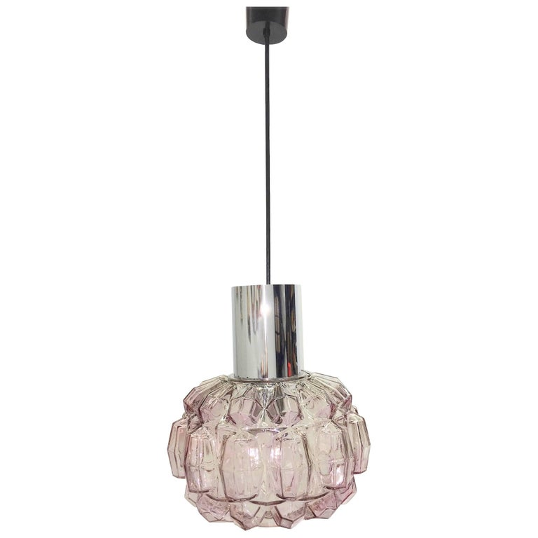 Petite Limburg Diamond Cut Shape Glass Ceiling Light Fixture For Sale