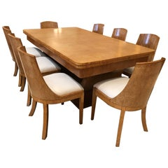 Art Deco Karelian Birch Dining Table and Eight Matching Chairs