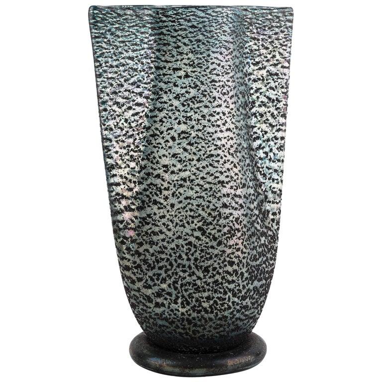 Vintage Ercole Barovier Italian Murano Barbarico Blown Glass Vase